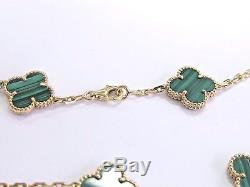 Van Cleef & Arpels 18Kt 10 Motif Vintage Alhambra Malachite Necklace 16.5