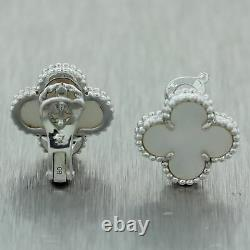 Van Cleef & Arpels 18k White Gold Mother of Pearl Vintage Alhambra Earrings