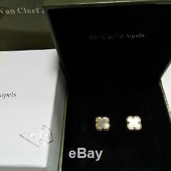 Van Cleef & Arpels Vintage Alhambra Earrings 18K Gold Small Mother Of Pearl earr