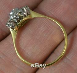 Victorian 0.6ct Old Cut Diamond 18ct Gold & Platinum Cluster Ring d0266