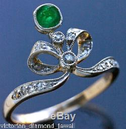 Victorian 0.90ct Rose Cut Diamond & Emerald Ring, Free Shipping worldwide
