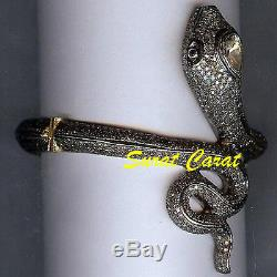 Victorian 14.90ct Single Cut Diamond & Polki Snake Bracelet, Free Shipping