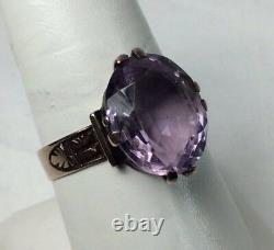 Victorian 14K Amethyst Rose Gold Ladies Ring (J574)