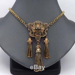Victorian 14k Rose & Green Gold Enamel Pearl Tassel Dangle Mourning Necklace 18
