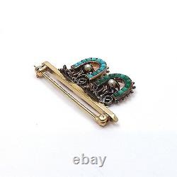 Victorian 14k Rose and Yellow Gold Horseshoe Turquoise Pearl Bar Brooch Pin