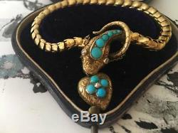 Victorian 15ct Gold Diamond Turquoise Serpent/Snake Bracelet (R2644)