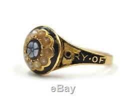 Victorian 18ct Gold, Sardonyx, Pearl And Enamel Ring, UK size Q US size 8