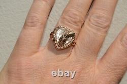 Victorian 9K Snake Garnet Love Heart Locket Ring