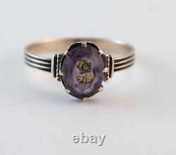 Victorian Amethyst & Diamond Intaglio Ring 10k Rose Gold Size 7.5