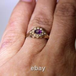 Victorian Amethyst Pearl Daisy Cluster 9ct Yellow Gold Band Ring size J 1/2 5