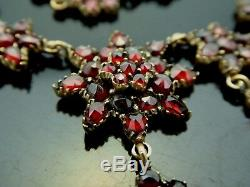 Victorian Antique Bohemian Red Faceted Garnet Starburst Gilt Necklace 15.5