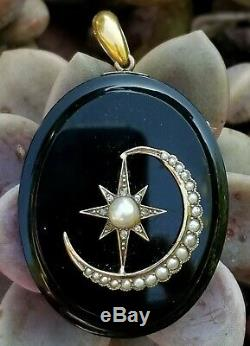 Victorian Crescent Moon Star Locket-Mourning Locket-14k Gold Diamond Pearl
