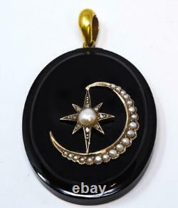 Victorian Crescent Moon Star Locket-Mourning Locket-14k Gold Diamond Pearl