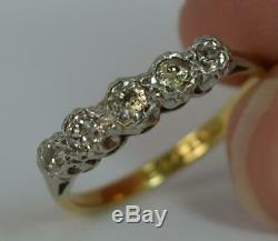 Victorian Five Old Cut Diamond 18ct Gold & Platinum Stack Ring t0364