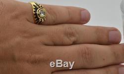 Victorian Memento Mori/Mourning Skull 14k Gold, Black Enamel&Rose DIAMOND ring