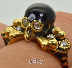 Victorian Memento Mori/Mourning Skull ornate 18k Gold, Black Enamel&DIAMONDS ring