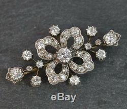 Victorian Period VS 2.50ct Old Cut Diamond 18ct Gold Brooch d1869