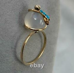 Victorian Persian Turquoise Snake Globe Ring Moonstone Gold Antique Rare