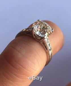Victorian Platinum VS1 Quality European Cut 1.85 tcw Diamond Engagement Ring