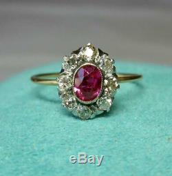 Victorian Ruby OMC Diamond Halo Ring 14K Gold Antique Engagement Wedding Ring