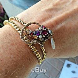 Victorian Snake Necklace / Bracelet Amethyst Garnets Pearls 14k Gold c. 1870 MINT