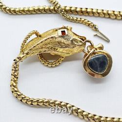 Victorian Snake Necklace Locket 14k Gold Garnet Carbuncle Antique (6279)