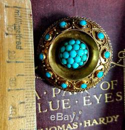 Victorian Turquoise 15ct Gold Locket Brooch Cannetille Etruscan Antique