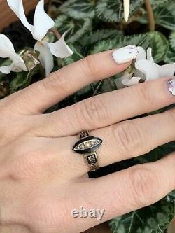 Victorian Yellow Gold Navette Black Enamel Pearl Hair Ring