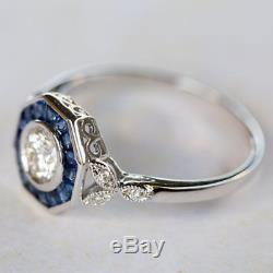 Vintage 1.47 Ct Art Deco Antique White Moissanite Fine 14K White Gold Over Ring