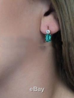 Vintage 1.9 Emerald Diamond Art Deco 14K Rose Gold Over Antique wedding Earring