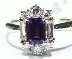 Vintage 1.90CT Platinum Natural Cut White Diamond Alexandrite Engagement Ring
