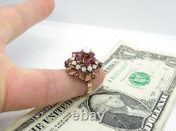 Vintage 10k Yellow Gold Thai Princess Opal Ruby Cocktail Ring with Box Size 7.5