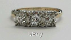 Vintage 14 Karat Yellow Gold Three Stone Old Mine Cut Diamond Ladies Ring