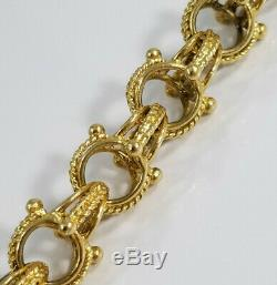 Vintage 14K Gold FANCY ETRUSCAN STYLE CHARM BRACELET 36 grams