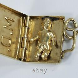 Vintage 14K Gold MD DOCTOR Bag BABY INSIDE Charm 2grams
