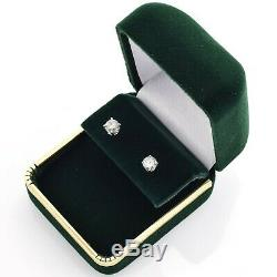 Vintage 14K White Gold Diamond Solitaire Stud Earrings 1.0 Grams 0.92 TCW