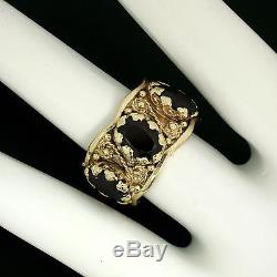 Vintage 14K Yellow Gold 6.6ctw Oval Garnet Twisted Wire WIDE Eternity Band Ring