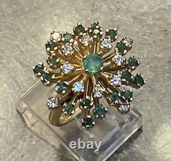 Vintage 14K Yellow Gold Genuine Emerald & Diamond Starburst Cocktail Ring