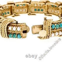 Vintage 14K Yellow Gold Turquoise & Pearl Twisted Wire Heavy Fancy Open Bracelet