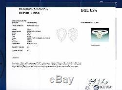Vintage 14k Gold 1.37ctw Pear Shape Tapered Baguette Diamond Engagement Ring EGL