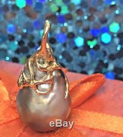 Vintage 14k Gold Black Tahitian Pearl Baroque Diamond Pendant Signed South Sea