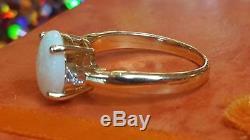 Vintage 14k Gold Estate Opal & Diamond Ring Designer Signed Qcd Gemstone