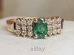 Vintage 14k Gold Genuine Natural Emerald & Diamond Ring Designer Signed Bh Effy