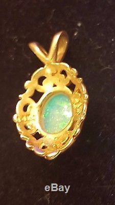 Vintage 14k Gold Genuine Natural Fire Opal Pendant Designer Signed Kabana Kbn