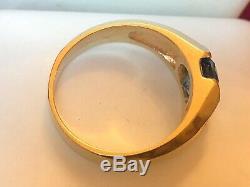 Vintage 14k Gold London Blue Topaz & Diamond Ring Men's Gemstone Appraisal