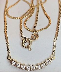 Vintage 14k Gold Natural Diamond Necklace Pendant Chain Made In Italy Lavalier