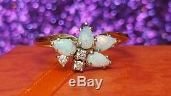 Vintage 14k Gold Opal & Genuine Diamond Ring Gemstone Designer Signed Ibg