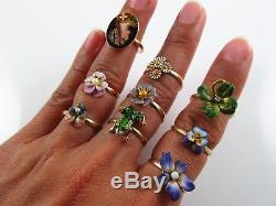 Vintage 14k Gold Opal Insect Fly Ring Size 6.75