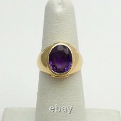 Vintage 14k Gold Oval Bezel Set Amethyst Signet Ring Mens Pinky Unisex 5 grams