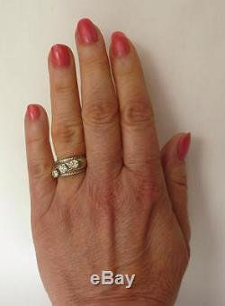 Vintage 14k White Gold. 88 Ct European Old Mine Diamond 3-Stone Wide Band Ring